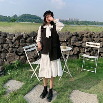 Dress Autumn 2020 Black vest and white skirt S (90-100 Jin), m (100-110 Jin), l (110-120 Jin), XL (120-135 Jin), 2XL (135-150 Jin), 3XL (150-165 Jin), 4XL (165-175 Jin), 5XL (175-200 Jin) longuette Two piece set Long sleeves commute other High waist Solid color Socket A-line skirt Lotus leaf sleeve