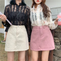 skirt Spring 2020 S (90-100 Jin), m (100-110 Jin), l (110-120 Jin), XL (120-135 Jin), 2XL (135-150 Jin), 3XL (150-165 Jin), 4XL (165-175 Jin), 5XL [175-200 Jin] Pink, white, black Short skirt commute High waist A-line skirt Type A 18-24 years old Denim Coardiarn / Kuandian Korean version