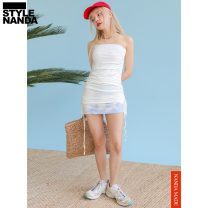 Dress Summer 2020 Cream Beige Average size Short skirt singleton  Sleeveless commute other High waist other One pace skirt Breast wrapping 18-24 years old stylenanda Korean version Pleating P000NZEM 31% (inclusive) - 50% (inclusive) polyester fiber