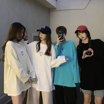 Women's large Spring 2021 White, black, lake green, cream yellow S (75-95 kg), m (95-105 kg), l (105-120 kg), XL (120-140 kg), 2XL (140-160 kg), 3XL (160-180 kg), 4XL (180-200 kg) T-shirt singleton  commute easy moderate Socket Long sleeves Solid color Korean version Crew neck Medium length cotton