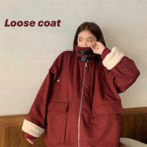 Women's large Winter of 2019, autumn of 2019 Red, black L [100-115 Jin], XL [115-130 Jin], 2XL [130-150 Jin], 3XL [150-170 Jin], 4XL [175-200 Jin] cotton-padded clothes singleton  commute Straight cylinder thickening Cardigan Long sleeves Solid color Korean version stand collar routine pocket