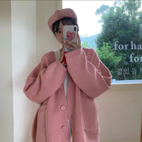 Women's large Autumn 2020 Pink sweater S (75-95 kg), m (95-105 kg), l (105-120 kg), XL (120-140 kg), 2XL (140-160 kg), 3XL (160-180 kg), 4XL (180-200 kg) Knitwear / cardigan singleton  commute easy moderate Cardigan Long sleeves Solid color Korean version V-neck Medium length other routine Button
