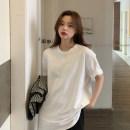 Women's large Spring 2021, summer 2021 white S (75-95 kg), m (95-105 kg), l (105-120 kg), XL (120-140 kg), 2XL (140-160 kg), 3XL (160-180 kg), 4XL (180-200 kg) T-shirt singleton  commute easy moderate Socket Short sleeve Solid color Korean version Crew neck Medium length cotton routine