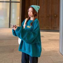 Women's large Spring 2021 Black, off white, rose red S (75-95 kg), m (95-105 kg), l (105-120 kg), XL (120-140 kg), 2XL (140-160 kg), 3XL (160-180 kg), 4XL (180-200 kg) Sweater / sweater singleton  commute easy moderate Socket Long sleeves letter Korean version Crew neck Medium length other routine