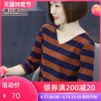 T-shirt Green blue apricot blue black and white M L XL 2XL 3XL 4XL Spring 2021 three quarter sleeve V-neck easy Regular routine street cotton 31% (inclusive) - 50% (inclusive) 30-39 years old classic Thick horizontal stripe Crosswalk T889 Asymmetry Pure e-commerce (online only) navy