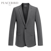 man 's suit grey Peacebird Fashion City routine S XL L M XXL XXXL XXXXL B1BA83X01 Wool 52.1% polyester 44.6% polyurethane elastic fiber (spandex) 3.3% Autumn of 2018 standard A single breasted button Other leisure Double slit Same model in shopping mall (sold online and offline) youth Long sleeves