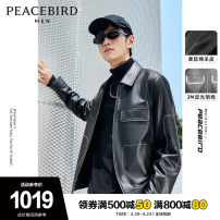 leather clothing Peacebird Fashion City Black black 1 S M L XL XXL XXXL XXXXL routine Leather clothes Lapel zipper autumn leisure time youth Other 100% Business Casual BWBDA4432 Winter 2020 Same model in shopping mall (sold online and offline)