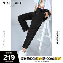 Jeans Fashion City Peacebird S M L XL XXL XXXL XXXXL Black black 1 routine No bullet Regular denim BWHAA2103 trousers Cotton 99% polyurethane elastic fiber (spandex) 1% summer youth middle-waisted tide 2020 Straight foot zipper Summer 2020 cotton Pure e-commerce (online only)