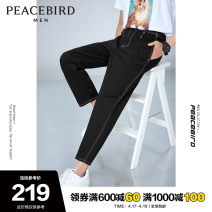 Jeans Fashion City Peacebird S M L XL XXL XXXL XXXXL Black black 1 routine No bullet Regular denim BWHAA2103 trousers Cotton 99% polyurethane elastic fiber (spandex) 1% summer youth middle-waisted tide 2020 Straight foot zipper Summer 2020 cotton Pure e-commerce (online only)