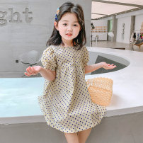 Dress Polka dot dress in beige female Tagkita / she and others Cotton 95% other 5% spring and autumn Korean version Long sleeves Solid color cotton Splicing style TQX033 12 months, 6 months, 9 months, 18 months, 2 years old, 3 years old, 4 years old, 5 years old, 6 years old, 7 years old, 8 years old