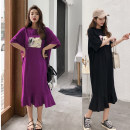 Dress Spring 2021 Purple, black Mid length dress singleton  Short sleeve commute Crew neck Loose waist other Socket Ruffle Skirt routine Others Type H Other / other Korean version printing 81% (inclusive) - 90% (inclusive) other cotton