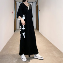 Dress Summer 2020 black L,XL,2XL longuette singleton  Short sleeve commute V-neck Loose waist other Socket other routine Others Type H Other / other Korean version printing 31% (inclusive) - 50% (inclusive) other cotton