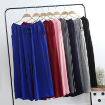Casual pants Average size Summer of 2019 Ninth pants Wide leg pants High waist 30% and below modal  cotton