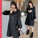 Women's large Winter 2020 black Large XL recommends about 120-140 kg, large 2XL recommends about 140-160 kg, large 3XL recommends about 160-180 kg, large 4XL recommends about 180-200 kg Dress singleton  commute easy moderate Socket Long sleeves Solid color Korean version V-neck routine NZ20-Y164 bow
