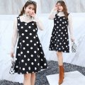 Dress Autumn 2020 Black and white two piece set XL 2XL 3XL 4XL Mid length dress Two piece set Long sleeves commute other Loose waist Dot Socket Big swing other Others 25-29 years old Type A Nuozhu Korean version Cut out lace with ruffles and cut-out stitching NZ19-1590 More than 95% Lace