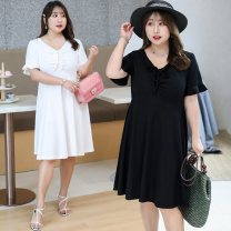 Women's large Summer of 2019 Black and white Large XL Large 2XL large 3XL large 4XL Dress singleton  commute easy thin Socket Short sleeve Solid color Korean version V-neck Polyester chloroprene fiber Three dimensional cutting Lotus leaf sleeve Nuozhu 25-29 years old Medium length Irregular skirt