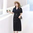 Women's large Summer of 2019 black Large XL (120-150 kg recommended) large 2XL (150-170 kg recommended) large 3XL (170-200 kg recommended) large 4XL (200-250 kg recommended) Dress singleton  commute easy moderate Socket Short sleeve Solid color Korean version Polo collar Polyester cotton routine belt