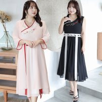 Women's large Summer of 2019 Apricot Pink Black Large XL Large 2XL large 3XL large 4XL Dress Two piece set commute easy thin Socket three quarter sleeve Big flower ethnic style V-neck Medium length polyester Three dimensional cutting other Nuozhu 25-29 years old Embroidery 96% and above Medium length