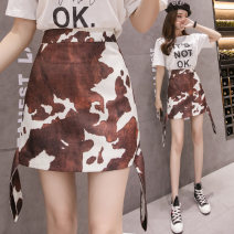 skirt Summer of 2019 S,M,L,XL Decor Short skirt commute High waist A-line skirt Animal pattern Type A 18-24 years old 30% and below Other / other Korean version