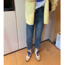 Women's large Spring 2021 Wash blue, take a picture, 1 yard Large XL, large XXL, large XXL, large XXXXL, large L Jeans commute Solid color Korean version cotton 18-24 years old trousers