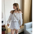 Women's large Spring 2021 White Pearl Dress singleton  Sweet Straight cylinder moderate Cardigan Long sleeves Solid color square neck routine cotton routine 18-24 years old pocket 31% (inclusive) - 50% (inclusive) Short skirt other Ruili