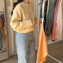 Wool knitwear Autumn 2020 Average size Orange, yellow, black, white, mixed sky blue, lake green, oatmeal card Long sleeves singleton  acrylic fibres 81% (inclusive) - 90% (inclusive) routine commute Straight cylinder routine Solid color Socket Korean version 18-24 years old Other / other