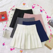 skirt Summer of 2019 S,M,L Dark blue, gray, white, black, pink Short skirt commute High waist Pleated skirt Solid color 18-24 years old Other / other Korean version