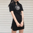 Dress Summer of 2019 black S,M,L Short skirt singleton  Short sleeve commute High waist Animal design A button A-line skirt other Others 18-24 years old Type A Other / other Korean version Embroidery 31% (inclusive) - 50% (inclusive) other