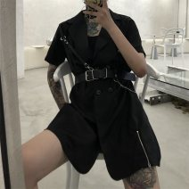Dress Summer 2020 black S,M,L Short skirt singleton  Short sleeve commute square neck middle-waisted Solid color double-breasted routine 18-24 years old Korean version 31% (inclusive) - 50% (inclusive) polyester fiber