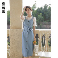 Dress Summer 2021 Blue denim skirt spot white top spot blue denim skirt pre sale white top pre sale S M longuette singleton  Sleeveless commute V-neck High waist Solid color Single breasted other straps 25-29 years old Diyou Button DYA3412 81% (inclusive) - 90% (inclusive) cotton