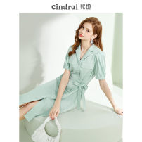 Dress Summer 2021 Green (10 days in advance) XS S M L Mid length dress singleton  Short sleeve commute other High waist Solid color Socket A-line skirt routine Others 25-29 years old Xi di Lace up button XD10361 51% (inclusive) - 70% (inclusive) polyester fiber Pure e-commerce (online only)