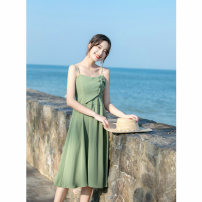 Dress Summer 2021 green XS,S,M,L Mid length dress singleton  Sleeveless commute V-neck High waist Solid color zipper A-line skirt routine camisole Type A Retro Open back, button, zipper More than 95% other other
