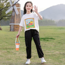 suit Youmi house Blue, white 120cm,130cm,140cm,150cm,160cm,170cm female summer Korean version Short sleeve + pants 2 pieces routine There are models in the real shooting Socket nothing other other children YMW-21104 Other 100% 2, 3, 4, 5, 6, 7, 8, 9, 10, 11, 12, 13, 14 years old