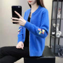 Wool knitwear Autumn of 2019 S,M,L,XL,2XL Black, blue, white, khaki, pink, yellow Long sleeves singleton  Cardigan other 51% (inclusive) - 70% (inclusive) Regular routine commute easy Low crew neck routine Plants and flowers zipper Korean version 2098 Coryn Embroidery, zipper