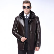 leather clothing Oana  Youth fashion Black, brown, one hair substitute 165,170,175,180,185,190 have more cash than can be accounted for Imitation leather clothes zipper leisure time middle age 380-3018 Zipper decoration