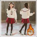 skirt 120cm,130cm,140cm,150cm,160cm,165cm Red skirt thickened, beige sweater plush, plush sweater + thickened skirt TAKIBABE female Cotton 100% winter Korean version Solid color Pure cotton (100% cotton content) Class B