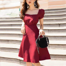 Dress Summer 2020 claret S,XS,L,M Short skirt singleton  Short sleeve commute square neck High waist Solid color zipper A-line skirt puff sleeve Others 25-29 years old Pleating 71% (inclusive) - 80% (inclusive) other polyester fiber