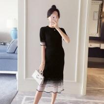Dress Bing moon black Average size Korean version Short sleeve Medium length summer Crew neck other Pure cotton (95% and above) WS006280