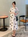 Dress Bing moon Picture color M L XL XXL Versatile Short sleeve Medium length summer V-neck Dot Chiffon N-3520