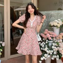 Dress Spring 2021 Picture color Average size Short skirt singleton  Short sleeve commute V-neck High waist Socket A-line skirt 18-24 years old Type A Other / other Korean version 0403Y 31% (inclusive) - 50% (inclusive)