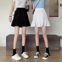 skirt Spring 2021 Average size White, black Short skirt commute High waist A-line skirt Solid color Type A 18-24 years old 0329L 30% and below other Other / other Korean version