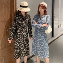 Dress Spring 2021 Blue, yellow, black Average size Mid length dress singleton  Long sleeves commute V-neck Elastic waist Broken flowers Socket Big swing routine Others 18-24 years old Type A Other / other Korean version W0302 31% (inclusive) - 50% (inclusive) other