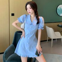 Dress Spring 2021 blue S, M Short skirt singleton  Short sleeve commute Doll Collar High waist Solid color Socket A-line skirt puff sleeve Others 18-24 years old Type A Other / other Korean version Three dimensional decoration W0305 30% and below other