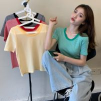 T-shirt Black stripe, yellow stripe, green stripe, red stripe Average size Spring 2021 Short sleeve Crew neck easy have cash less than that is registered in the accounts routine commute other 30% and below 18-24 years old Korean version Thin horizontal stripe Other / other W0329