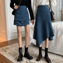 skirt Autumn 2020 S,M,L Black skirt, blue skirt, black skirt, blue skirt commute High waist A-line skirt Solid color Type A 18-24 years old 0811M 31% (inclusive) - 50% (inclusive) other Korean version