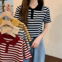 T-shirt Red, yellow, black, Beixing Average size Summer 2021 Short sleeve Polo collar Self cultivation have cash less than that is registered in the accounts routine commute other 30% and below 18-24 years old Korean version Thin horizontal stripe Other / other W0411