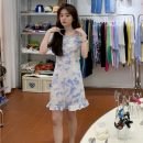 Dress Summer 2021 Blue tie dye S,M,L Short skirt singleton  Short sleeve commute One word collar 18-24 years old Other / other Korean version 0418L 30% and below other