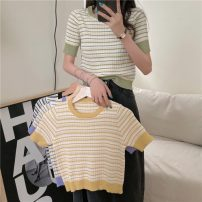 T-shirt violet , green , yellow , black Average size Summer 2021 Short sleeve Crew neck Self cultivation Regular commute other 30% and below 18-24 years old Korean version Thick horizontal stripe Other / other 0412L
