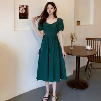 Dress Summer 2021 Green dress S, M Mid length dress singleton  Short sleeve commute V-neck puff sleeve Others 18-24 years old Other / other Korean version 0417L 30% and below other