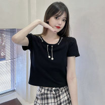 T-shirt black M,L,XL Summer 2021 Short sleeve Crew neck Straight cylinder have cash less than that is registered in the accounts commute other 30% and below 18-24 years old Korean version Other / other 0417L